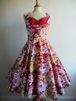 LINDY BOP Red Pink Dress with Pockets Full Skirt 50s Rockabilly Retro Size 12