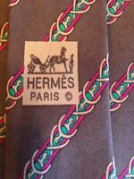 Hermes Paris Men's Neck Tie #7152 FA 100% Silk Made In France