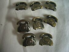 VINTAGE TELEPHONE SHAPED BRASS EFFECT  BUTTONS x 8  FREE P&P