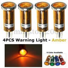 4x 12V Universal Car LED Dash Warning Indicators Lights Lamp Chrome Bezel Amber