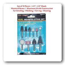 "10 Popular Shapes Mounted Stones Grinding Polishing Cleaning  1/8"" 1/4"" Shank"