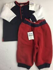 Boy's Set GYMBOREE Knit Pants Long Sleeve Shirt RED WHITE NAVY BLUE Joggers 3-6