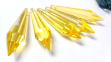 5 Yellow Icicle 80mm Chandelier Crystals Prisms Pendants