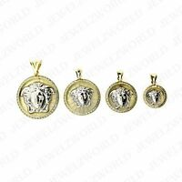 Real 10K White Yellow Gold Medusa Head Charm Pendant CZ Medallion ~ All Sizes