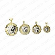 Real 10K Branco Amarelo Ouro Dois Tons Rosto Cabeça De Medusa Zircônia Cúbica Pingente Berloque Medalhão