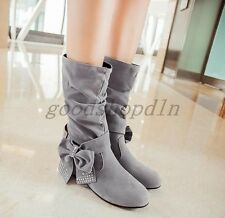 Womens Round TOE Faux Suede Shoes Flat Wedge Heel Bowknot Pull On Mid Calf Boots