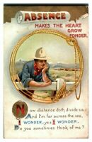 Antique military WW1 postcard Absence makes the heart grow fonder cowboy