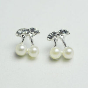Shiny Silver Plated Cute Small Cherry Round Pearl Crystal Stud Earrings Gift