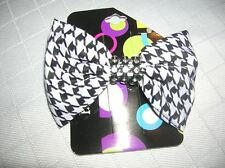 New  Barette Hounds Tooth Alabam Black White Hair bow -