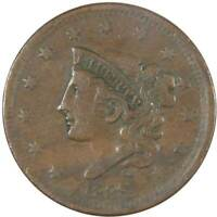 1838 Coronet Head Large Cent VF Very Fine Copper Penny 1c US Type Coin