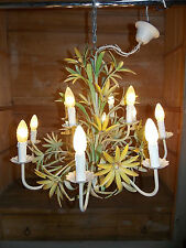 ANCIEN GRAND LUSTRE EN FER PEINT/12 LAMPES/OLD CHANDELIER METAL PAINTED