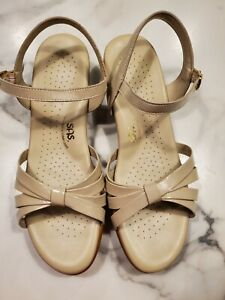 SAS Size 11W Women's Sandals Tripad Comfort Strappy Wedge Ivory Leather