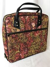 Vtg Purse Tote Carryon Luggage Small Suitcase Train Case Vanity Red Floral Black
