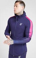 SikSilk Mens Fade Panel Zip Through Hoodie – Navy / Neon (Sizes - XS to XL)**New