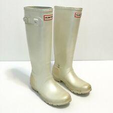 Hunter Womens 6 US 4 UK Knee High Rain Boot Ivory Pearl W23591 METORGW Rubber
