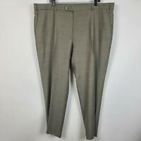 Neiman Marcus Flat Front Taupe Brown Uncuffed Mens Dress Pants Size 44x30