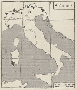 C3527 The Lead IN Italy - 1938 Map Period - Vintage Map