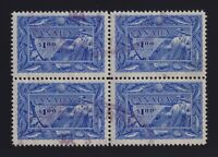 Canada Sc #302 (1951) $1 bright ultramarine Fishing Block of 4 VF Used