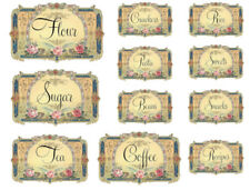 Vintage Image Shabby Victorian Kitchen Canister Labels Waterslide Decals KI317