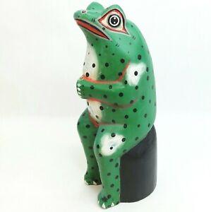 Wooden wood Frog figure ornament figurine Vintage