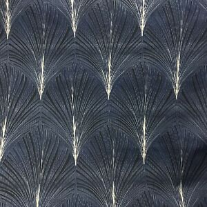 """Art Deco FOUNTAIN SMD Geometric Floral Cotton Fabric Curtain 3m Pieces 54""""NAVY"""