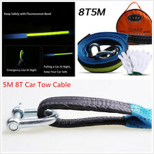Car Tow Cable Towing Rope Emergency Heavy Duty Strap 5M 8T with Hooks Reflective
