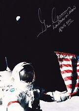 GENE CERNAN APOLLO 17 MOON WALKER - HAND SIGNED 8x10 PHOTO - W/ZARELLI SPACE LOA