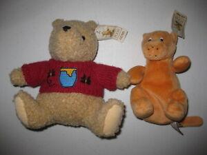 "Gund Classic POOH & TIGGER 10""/8"" Plush LOT Disney Stuffed Animals Bean New NOS"