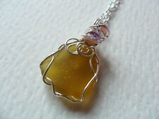 """Golden yellow sea glass & bead wire wrapped necklace - 18"""" silver plated chain"""
