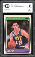 1988-89 Fleer #115 John Stockton Rookie Card BGS BCCG 9 Near Mint+