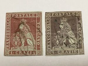 old stamps  TUSCANY    x  2 used 1cr and 9cr