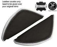 BLACK & WHITE LEATHER 2X DASH END SIDE TRIM COVERS FITS VW T5 TRANSPORTER 03-11