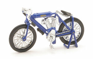 Indian Twin Racer 1908 Blue Scale 1:3 2 Diecast Model
