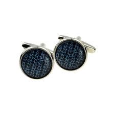 Blue Woollen Pattern Design Round Cufflinks Presented in a Box - X2BOC289