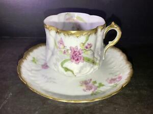 K) LIMOGES FRANCE M R M REDON COFFEE CUP SAUCER PATTERN 0797 WHITE PURPLE GREEN
