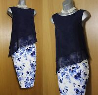 Jacques Vert Navy Floral Print Sheer Layered Race Party Cocktail Dress UK10 £139