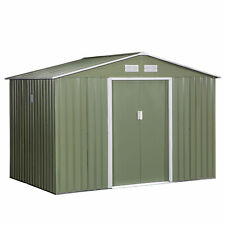 More details for outsunny 9x6ft outdoor storage garden shed w/2 door galvanised metal light green