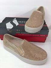 Skechers Women's Rose Gold 9.5 Double Up Shiny Dancer Memory Foam Loafers Shoes