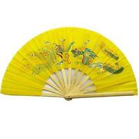 Chinese Tai Chi Martial Art Kung Fu Bamboo Dragon and Phoenix Fan Yellow