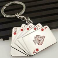 Creative Silver Metal Key Chain Ring Poker Keychain Cards Gifts Keyring Pla P4B1
