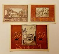 STRELITZ REUTERGELD NOTGELD 10, 25, 50 PFENNIG 1922 NOTGELDSCHEINE (11937)
