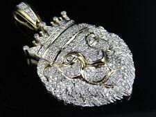Cartie Style Gold Genuine Diamond & Emerald Iced Lion Face on Black Onix Pendant