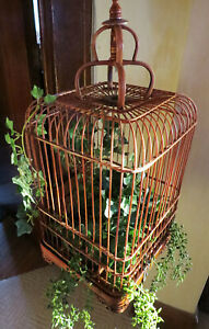 Asian Bamboo Hanging Bird Cage Hand Carved Wood w/Hook Curved Ornate Natural