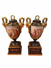 Beautiful Pair of Antique Royal Vienna Porcelain Vases