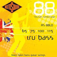 ROTOSOUND RS88LD BLACK NYLON FLATWOUND 4 STRING  BASS GUITAR STRINGS  1 PACK