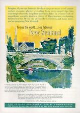 1962 New Zealand Government PRINT AD Travel Beautiful artwork of bridge
