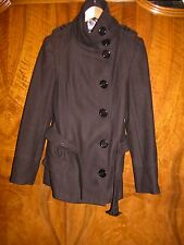 """MILITARY STYLE wool blend BLACK LONG BELTED JACKET- 14/15 - 34"""" BUST"""