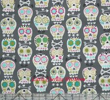 Michael Miller Bonehead Sugar Skull Gray Fabric
