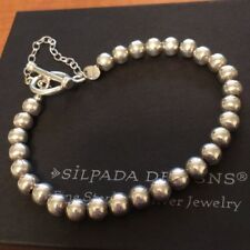 Silpada Sterling Silver 6mm Ball Bead Bracelet Toggle & Safety Chain B0059