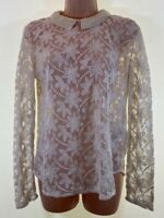 ZARA ivory embroidered lace pearl embellished collar blouse top size XS 8 - 10